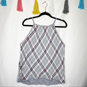 Anthropologie High Neck Plaid Tank Top Size M
